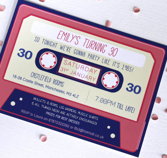 Cassette Tape Birthday Invitations Rodo Creative
