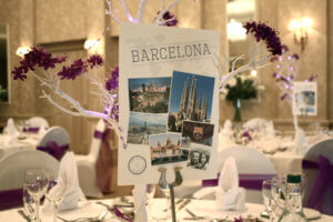 Destination table names, perfect for a travel themed wedding
