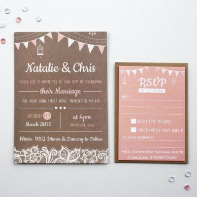 Blush Bunting Wedding Invitations - designed By Rodo Creative