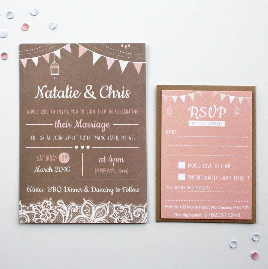 Blush Bunting Wedding Invitations - Rodo Creative