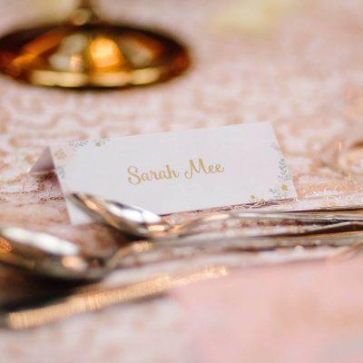 Elegant Gold Floral Place Cards