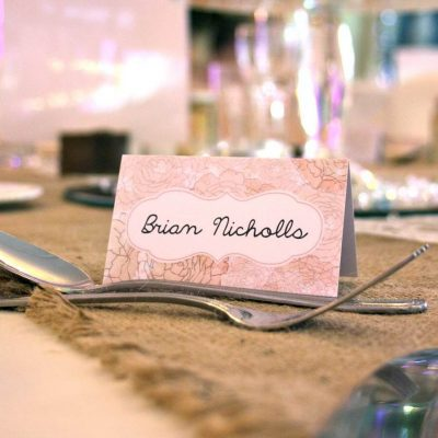 English Floral Vintage Style Place Cards