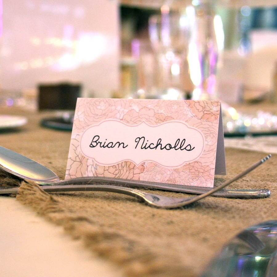 English Floral Vintage Style Place Cards - Rodo Creative