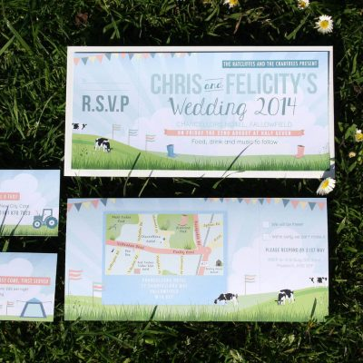 Festival Themed Wedding Invitation Bundle designed in Manchester by Rodo Creative