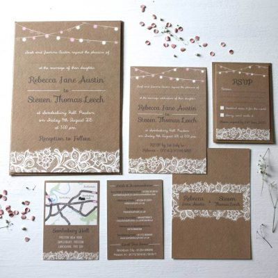 Festooned Lighting Lace Wedding Invitations designed by Rodo Creative in Manchester