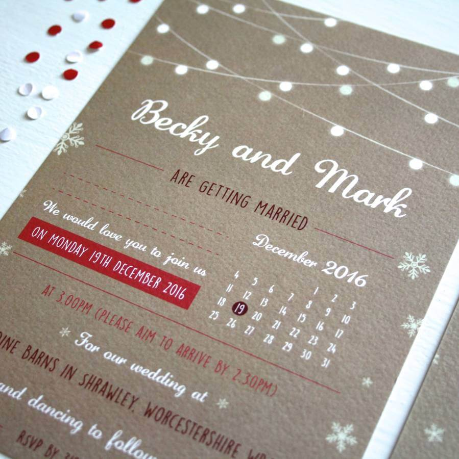 Festooned Lighting Snowflake Wedding Invitation - Rodo Creative