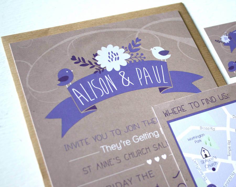 Wedding Invitations Manchester: Love Bird Wedding Invitation Bundle