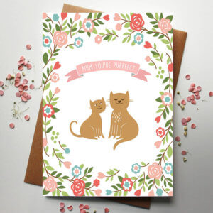 Cat lover mother's day card with cat illustrations and a floral pattern