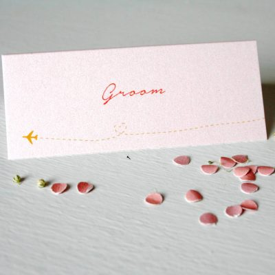 Pearlescent Travel Wedding Place Cards Blush Pink
