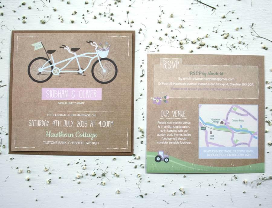 Wedding Invitations Manchester: Tandem Bike Wedding Invitation Bundle Designed By Rodo