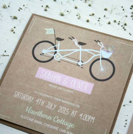 Tandem Bike Wedding Invitation Bundle designed by Rodo Creative in Manchester