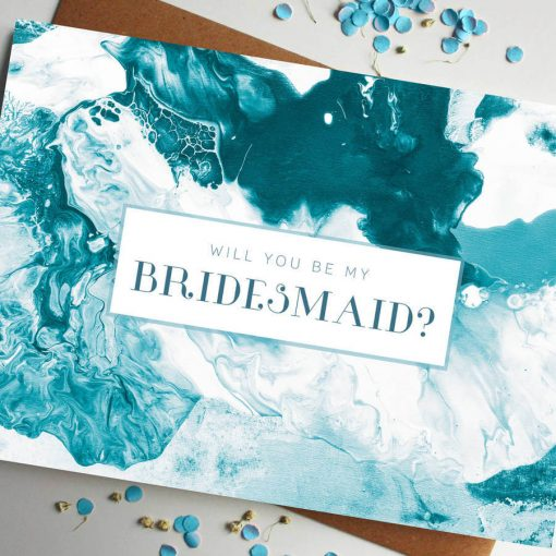 Will You Be My Bridesmaid Marble Card - designed by Rodo Creative in Manchester
