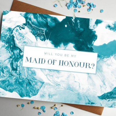 Will You Be My Maid Of Honour Marble Card - designed by Rodo Creative in Manchester
