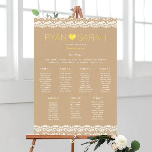 Vintage Lace Table Plan - Designed by Rodo Creative in Manchester