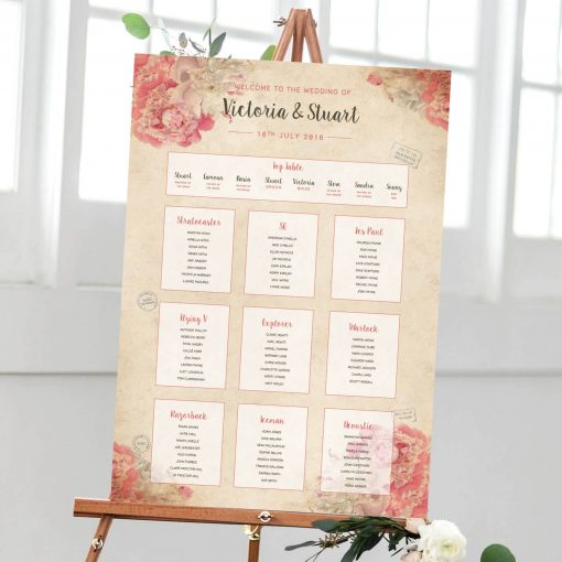 Rome inspired floral table plan - Designed by Rodo Creative in Manchester