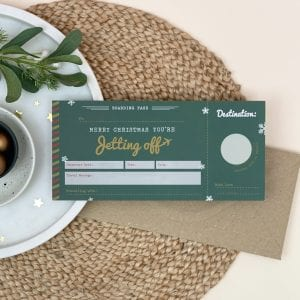 Christmas Jetting Off Scratch Off Boarding Pass - Designed by Rodo Creative