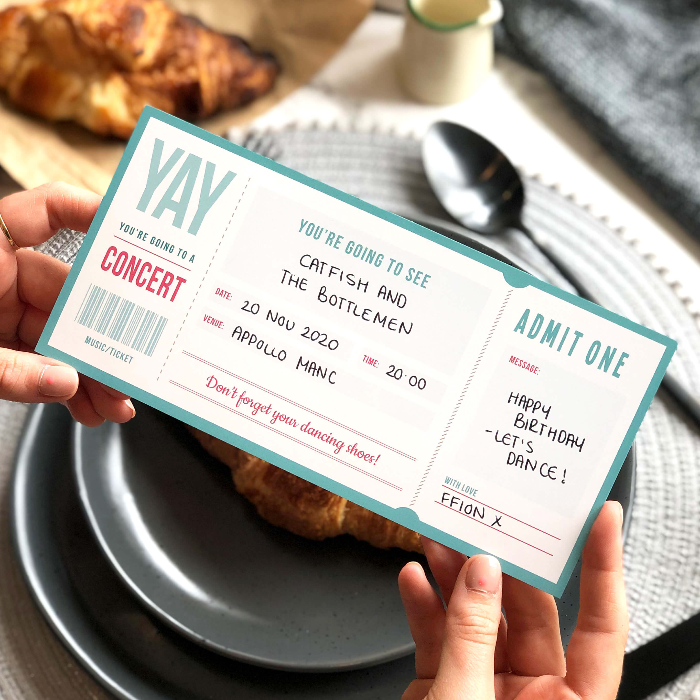 Music Ticket Gift for that Special Someone, can be personalised by Rodo Creative