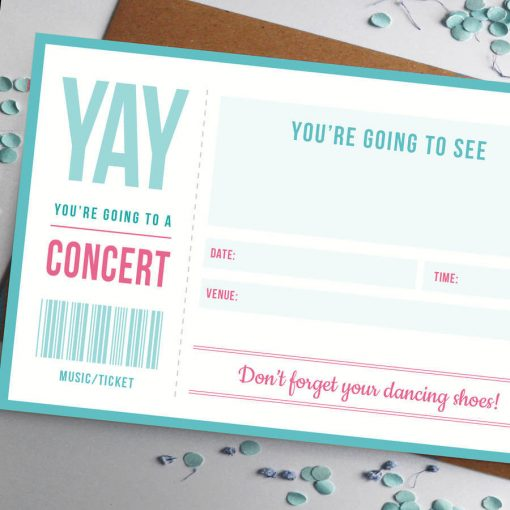 Music Ticket Gift for concert or gig by Rodo Creative