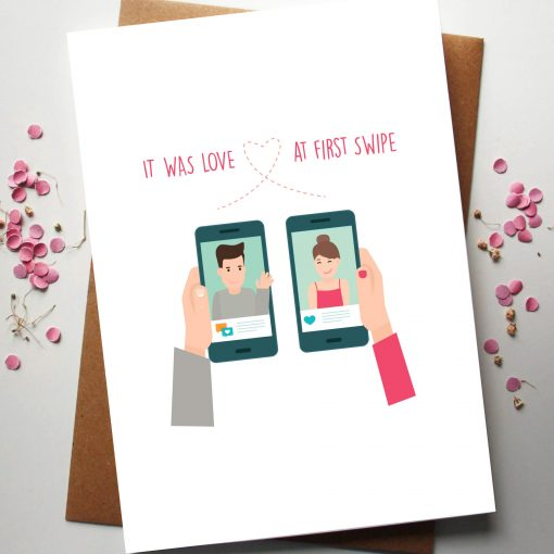 Love at first swipe Valentines day card by Rodo Creative