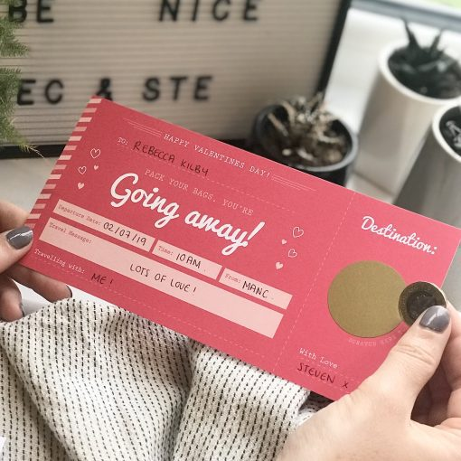 Valentines Jetting Off Scratch Card Boarding Pass - Designed by Rodo Creative