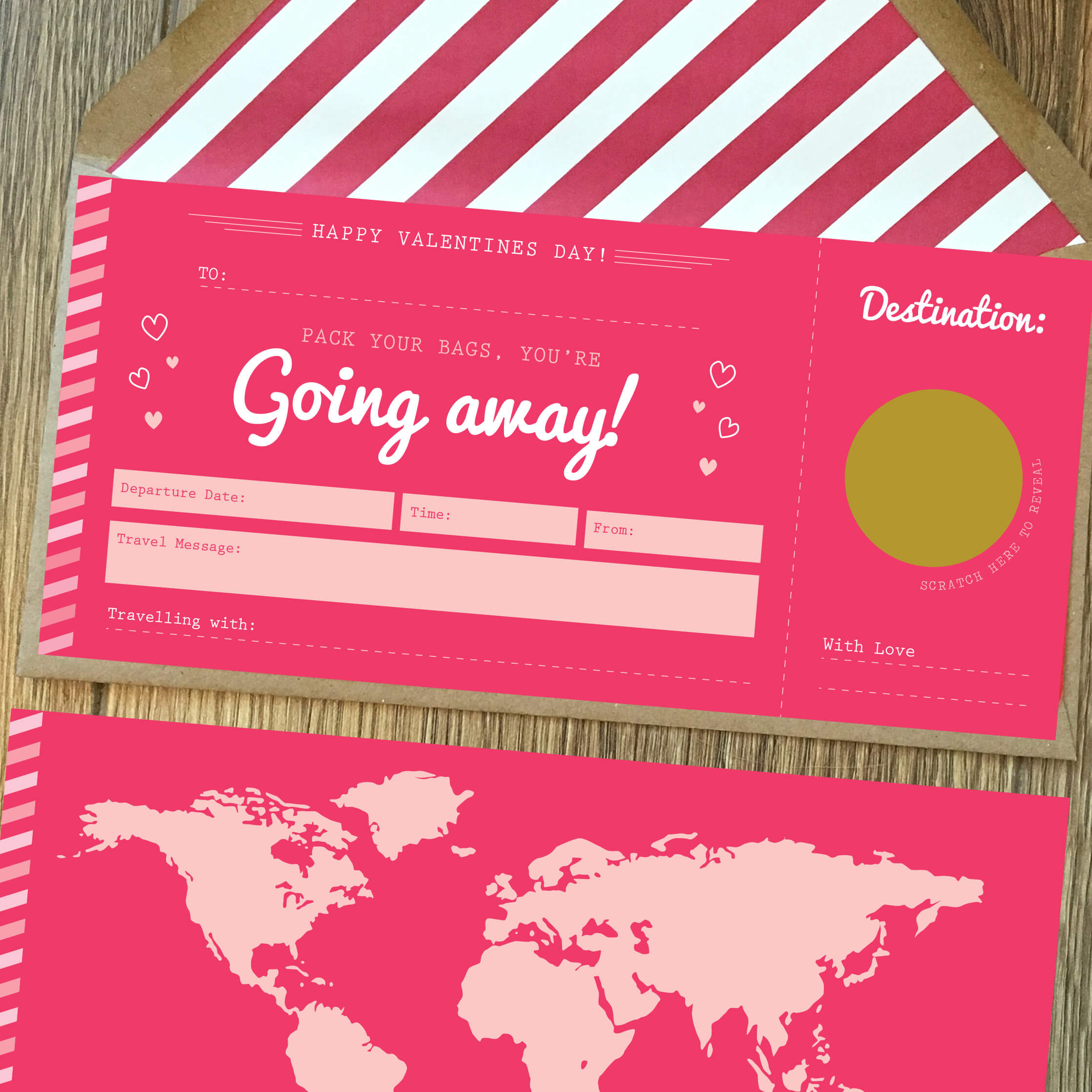Valentines Jetting Off Scratch Card Boarding Pass Rodo