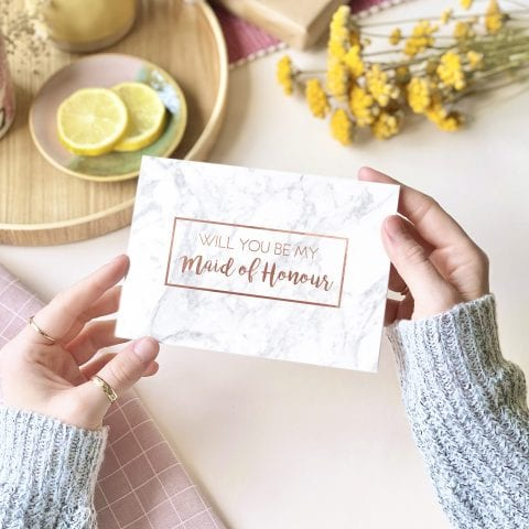 Maid of Honour Rose Gold Foil Marble Card - designed by Rodo Creative in Manchester