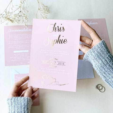 Luscious Type Blush And Gold Wedding Invites - Designed by Rodo Creative