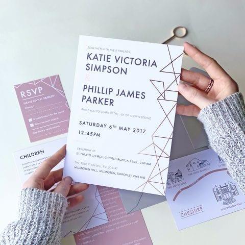 Geometric Foil Wedding Invites - Designed by Rodo Creative
