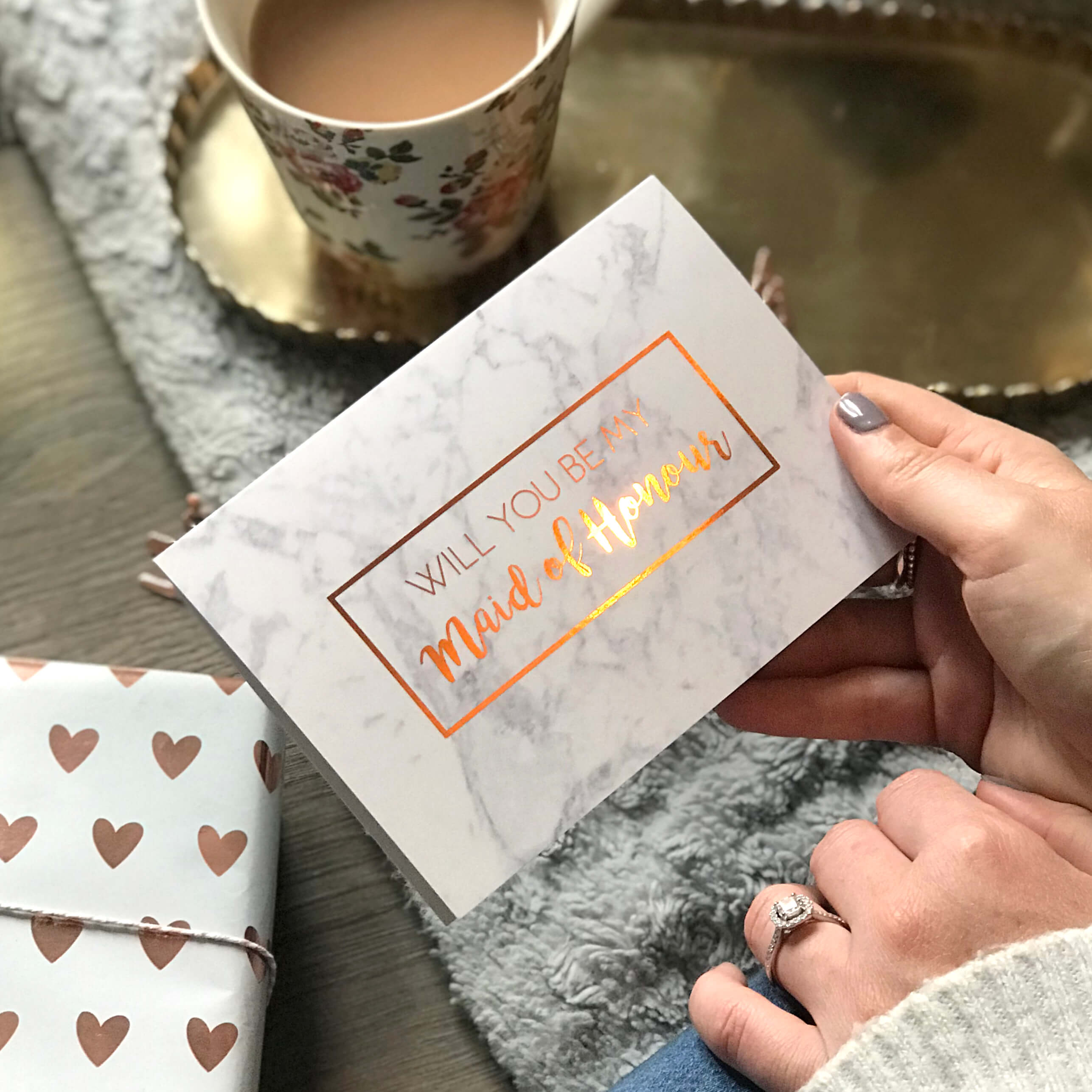 Will you be my Maid of Honour Rose Gold foiled marble card - Designed by Rodo Creative