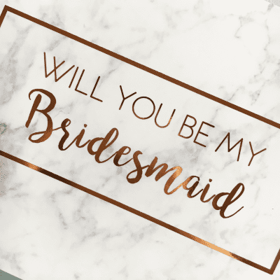 Will you be my bridesmaid rose gold foil marble card