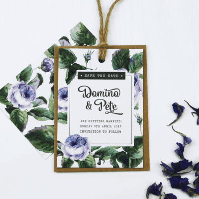 Wild Roses Save The Date Tag - Designed by Rodo Creative
