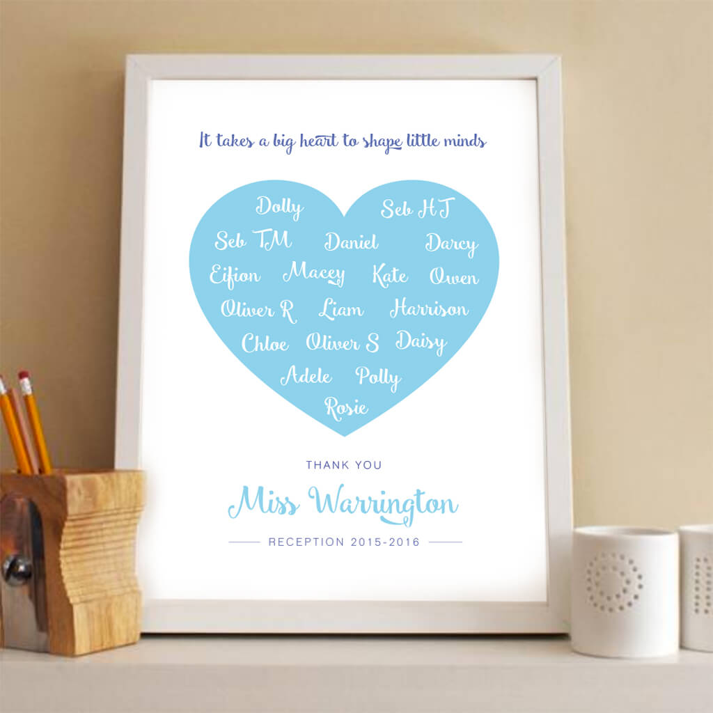 Personalised Teacher Gift heart Print