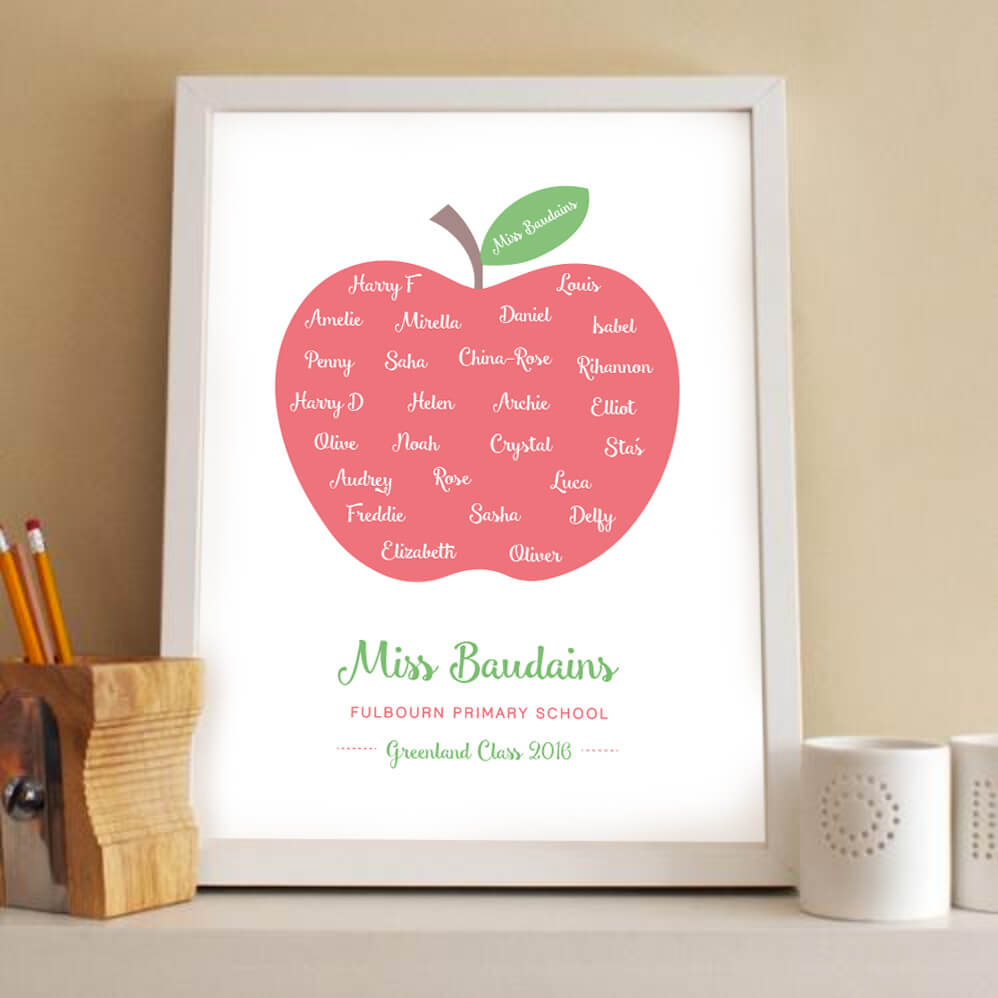 Personalised Teacher Gift Apple Print designed by Rodo Creative