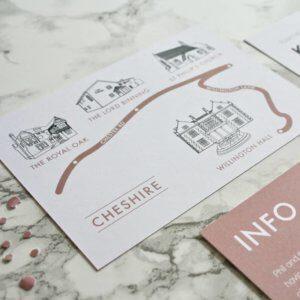 Geometric Copper Foil Wedding Invites designed by Rodo Creative