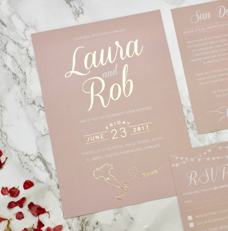 Luscious Type Blush And Gold Wedding Invites designed by Rodo Creative