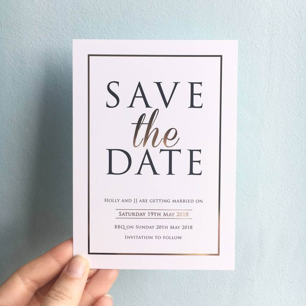 Modern gold foil save the dates designed by rodo creative.