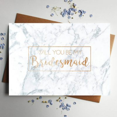 Will you be my bridesmaid rose gold marble card