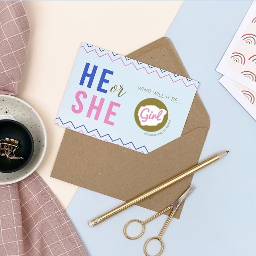 Scratch Off Baby Gender Announcement Card He Or She - Designed by Rodo Creative