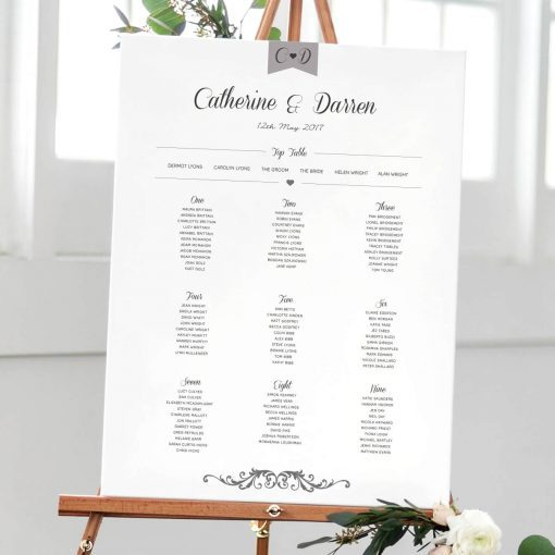 Elegant Type Table plan designed by Rodo Creative in Manchester