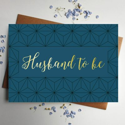 husband gold foil wedding card