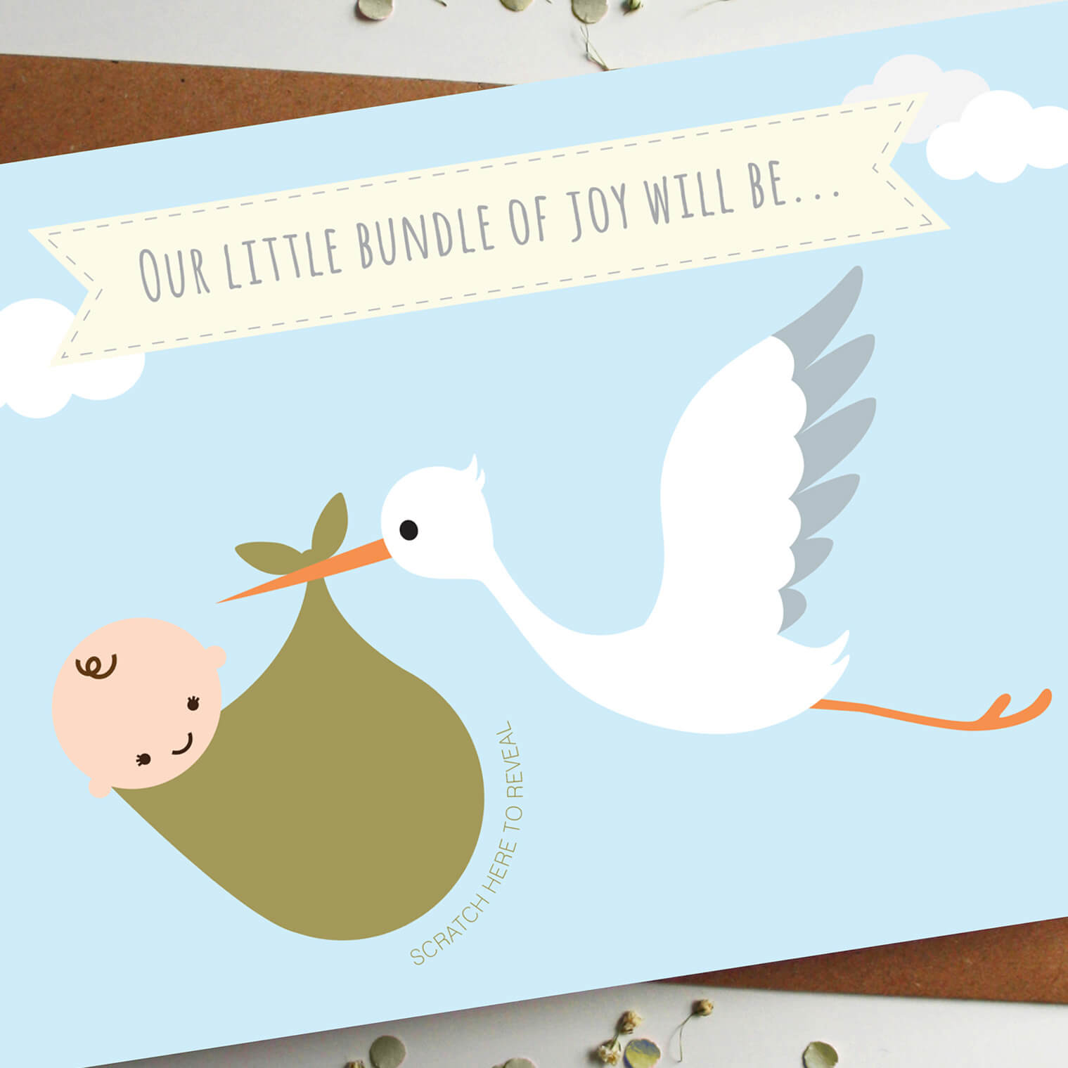 Scratch Card Baby Announcement Cute Stork Girl Or Boy Card