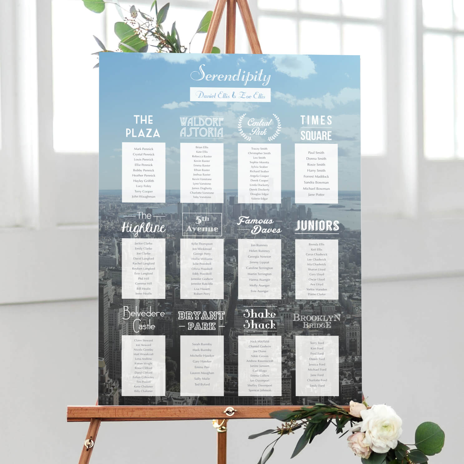New York Table Plan designed by Rodo Creative in Manchester