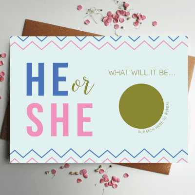 Baby Gender Announcement he or she designed by rodo creative