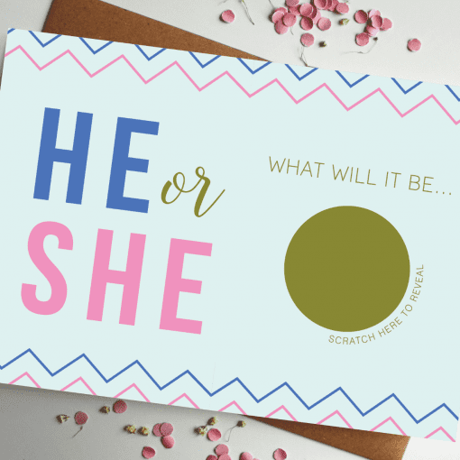 Baby Gender Announcement Card he or she designed by rodo creative