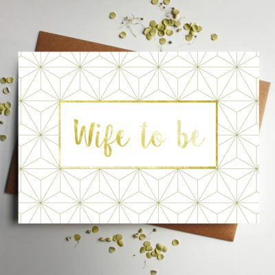 Wife Gold Foil Geometric Wedding Card - Designed by Rodo Creative