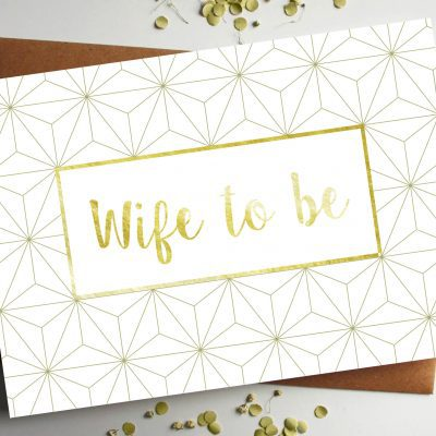 Wife Gold geometric wedding Card