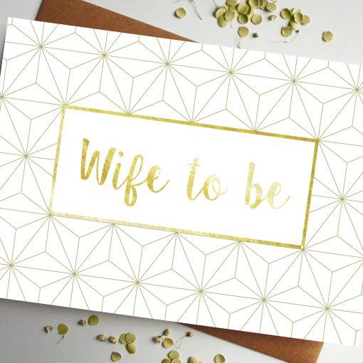 Wife Gold geometric wedding Card