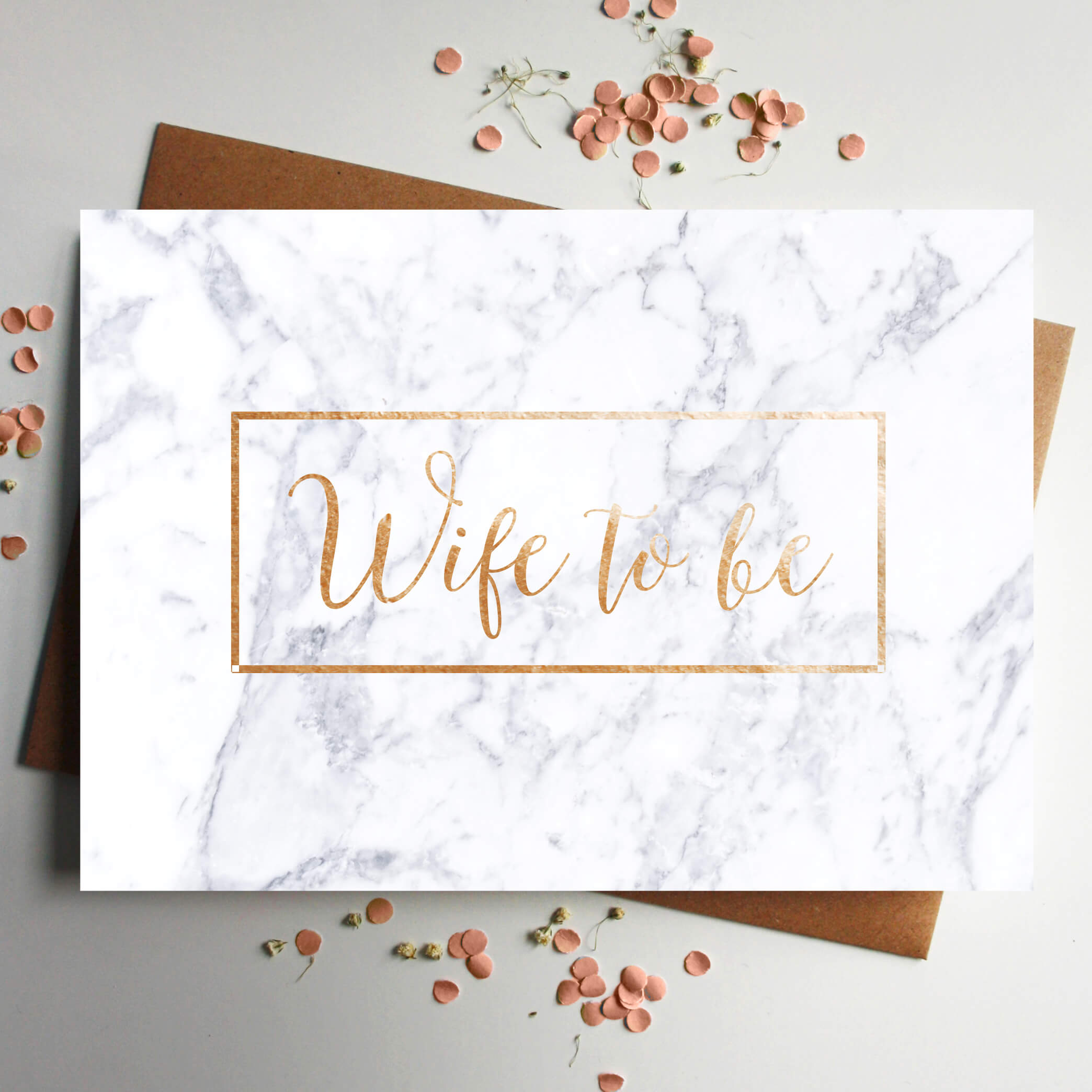 Wife Rose Gold Foil Marble Wedding Card