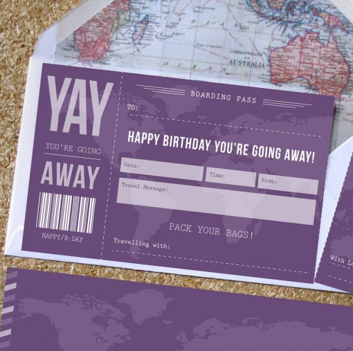 Birthday scratch off boarding pass designed by rodo creative
