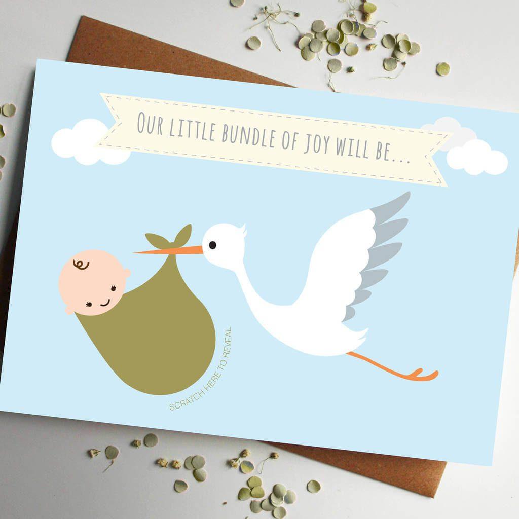 Scratch Card Baby Announcement Cute Stork Girl or Boy Card – Baby Gender Announcement Cards